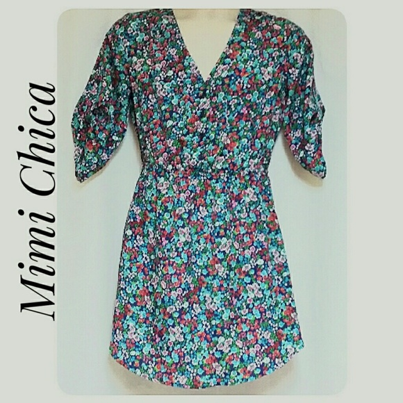 Mimi Chica Dresses & Skirts - Mimi Chica Blue Floral Print Mini-Dress Size Small